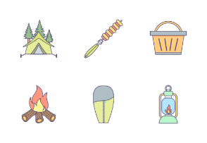Camping Flat Outline