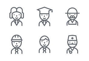 Career Outline icons set