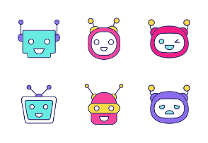 Chat bot emoji. Filled. Color