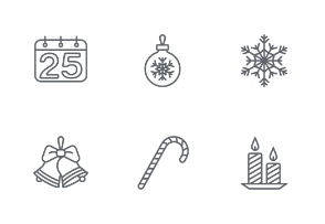 Christmas and Happy New Year icon set