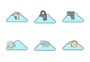 Cloud storage icon set.