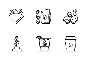Coffee Shop Outline Iconset