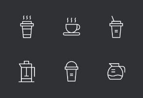 Coffee Thinline Icons Set