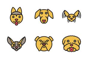 Colored outline Christmas Dog Breeds