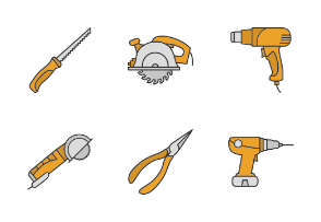 Construction tools. Filled. Color