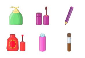 Cosmetics items - cartoon style
