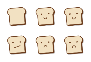 Cute Bread Slice Emoji In Different Expressions