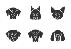 Dog faces. Glyph. Silhouettes