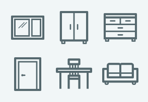 ELASTO Furniture and interior Flat & Outline icons