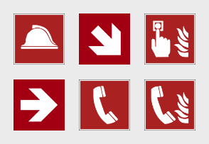 ISO 7010 Fire Equipment Red Signs