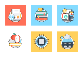 Flat Colored Line Icons 5