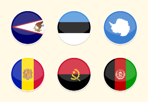 Flat Round World Fag Icon Set