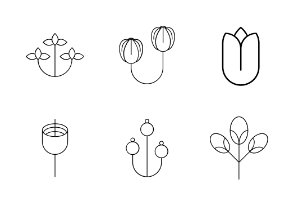 Flowers Thin Line Vector Set