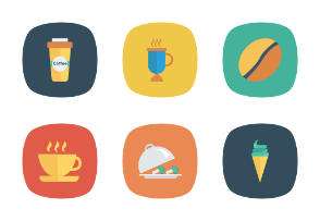 Food and Drinks Flat Square Rounded vol 2
