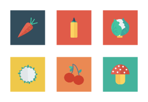 Food and Drinks Flat Square vol 2