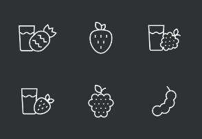 Fruit Thinline Icons Set