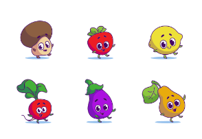 Fruits and Vegetables Characters Fill