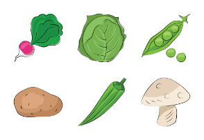 Fruits and Vegetables Sketchy Icons