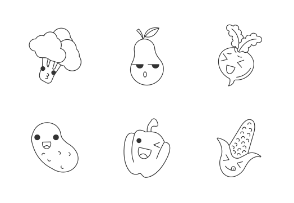 Fruits kawaii. Linear. Outline