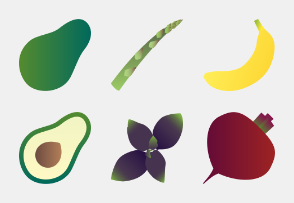 Fruits-n-vegetables colored (gradient)