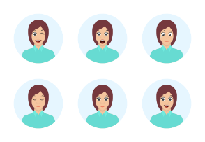 Girl avatar. Woman emotions. Cute brunette facial expression.