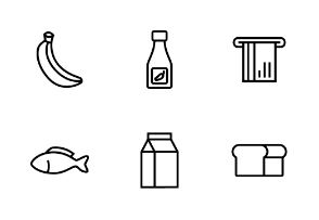 Grocery in line, outline, linear style design