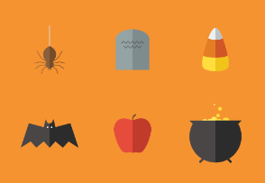 Halloween Theme Objects In Flat UI Design Style
