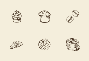 Hand-drawn bakery objects