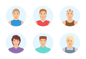 Handsome men avatar. Cute young men portrait with different hair styles.