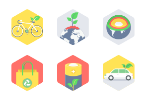 Hexagon Ecology & Environment flat icons