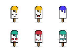 Ice Cream Stick Emoji in Different Expressions
