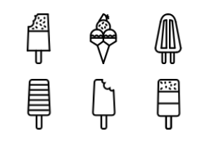 Ice Lollies Outline Collection