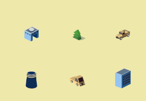Isometric  factories building