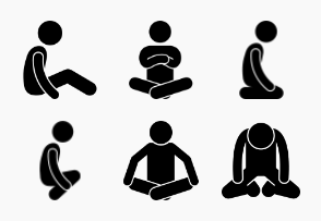Man Squatting, Sitting, and Lying Down Postures and Positions