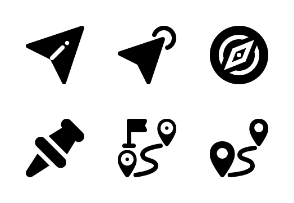 Map Pins and Navigation - Solid