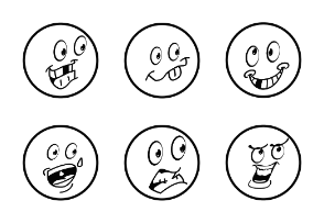 Monochrome Emoji Cartoons