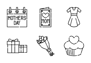 Mother Day Outline Style