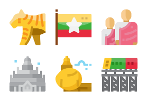 Myanmar landmark and culture flat design