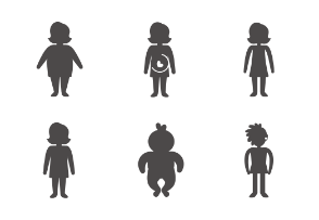 People front view in different ages, gender and weight, glyph styled