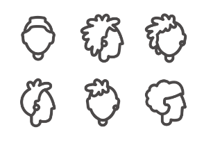 People heads in different ages and gender, line styled