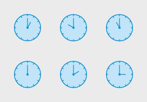 Clock Blue Line Filled