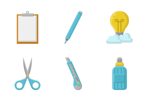School and Stationary Flat Style