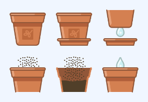 Seeding to earthen flower pot