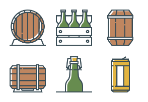 Set of beer attributes icons.