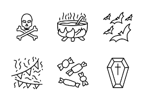 Set of halloween vector line icons.