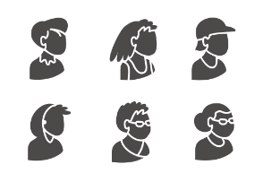 Set of people's bust in isometric projection as users in glyph style