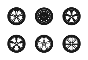 Silhouette car tyres and wheels