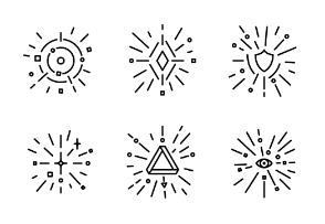 Simple set of shining vector line set