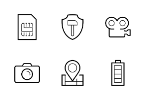 Smartphone parameters icon set