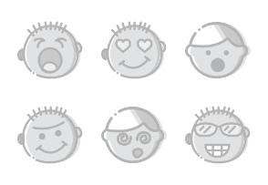 Smashicons Emoticons - Greyscale - Vol 2